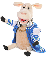 DJ Sheep with headphones and bling